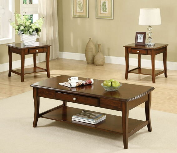 3 pc. lincoln park transitional style dark oak wood finish coffee table set