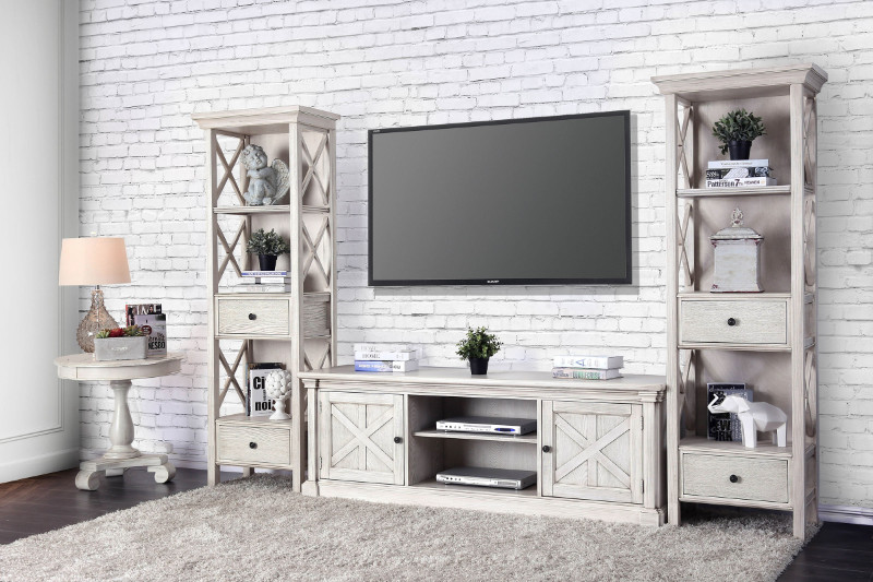 CM5089-TV-72-3PC  3 pc Georgia antique white finish wood TV entertainment center