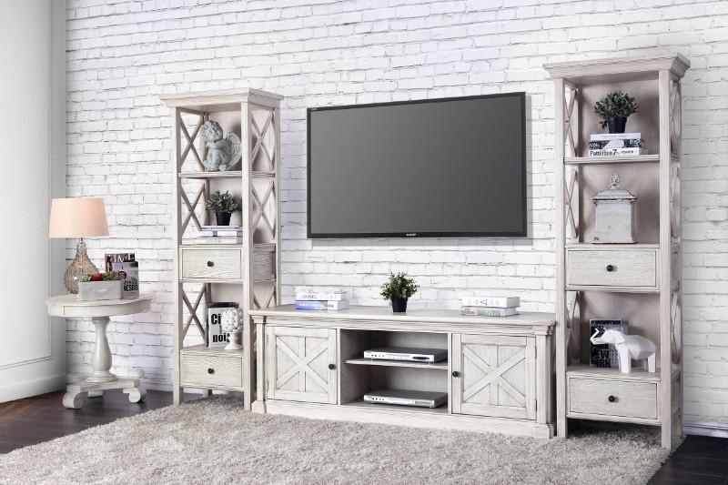 CM5089-TV-60-3PC  3 pc Georgia antique white finish wood TV entertainment center