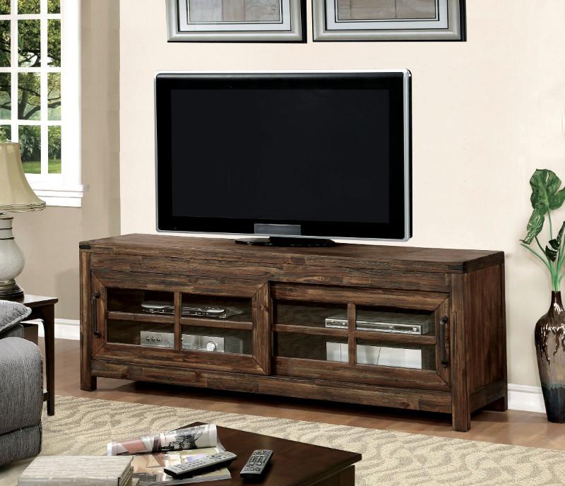 "CM5233-TV Hopkins dark walnut finish wood 72"" tv console media stand"