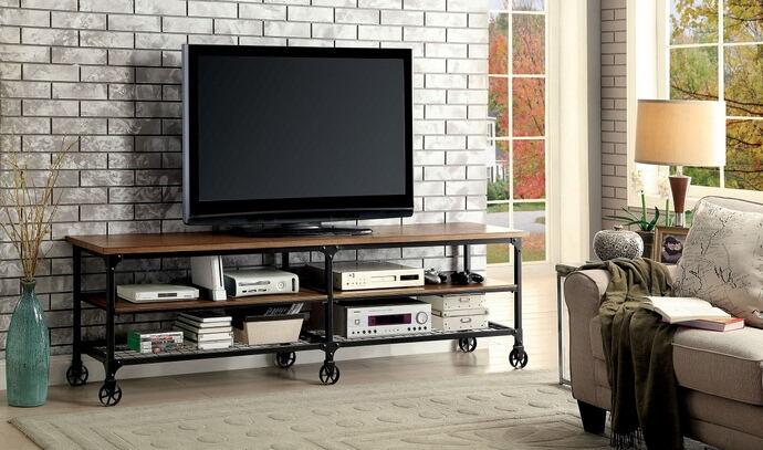 "Ventura ii collection industrial style medium oak finish wood 72"" tv console media stand"