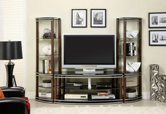 Silver creek contemporary style brown and silver finish media center with shelving
