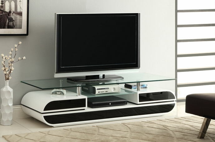 Evos collection modern style black and white high gloss lacquered coating with tempered glass top tv entertainment center stand