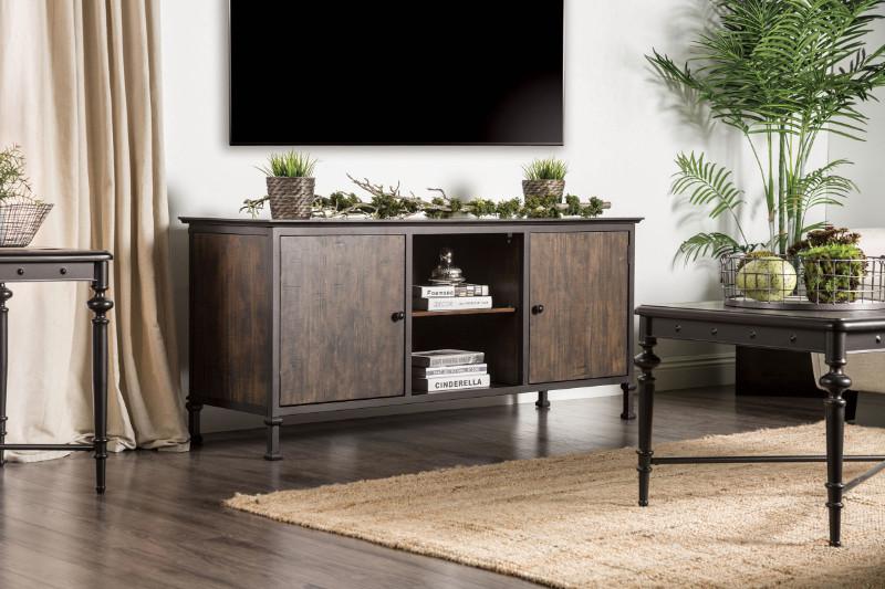 """CM5822-TV-60 Broadland industrial style medium weathered oak finish wood 60"""" tv console"""
