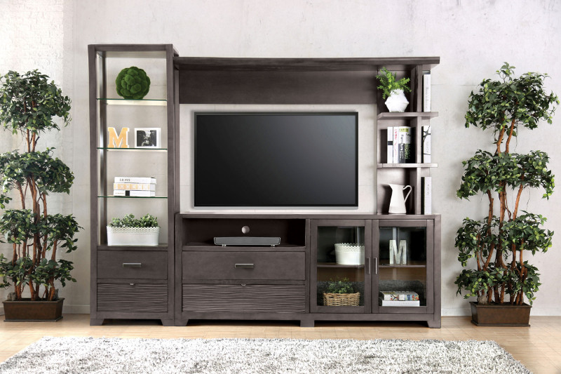 CM5900-TV-3PC  3 pc Tienen gray finish wood TV entertainment center