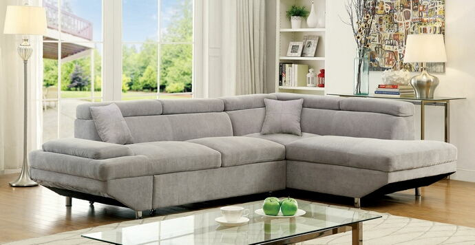 2 pc foreman collection contemporary style gray flannelette fabric upholstered sectional sofa with adjustable headrests and pullout sleeping area
