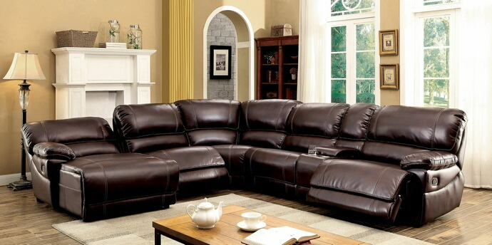 6 pc estrella collection transitional style brown breathable leatherette sectional sofa with recliners on the ends