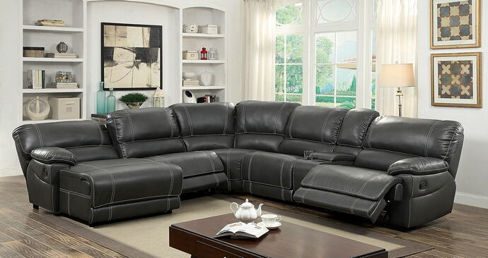 6 pc estrella collection transitional style gray breathable leatherette sectional sofa with recliners on the ends