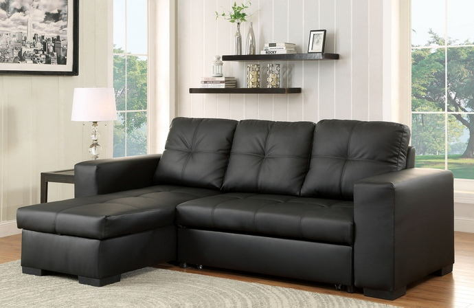 2 pc denton collection black leatherette upholstered contemporary style sectional sofa set