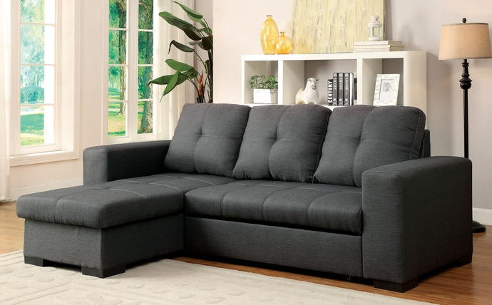 2 pc denton collection gray fabric upholstered contemporary style sectional sofa set