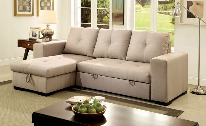 2 pc denton collection contemporary style ivory fabric upholstered sectional sofa with pull out sleeping area and storage chaise