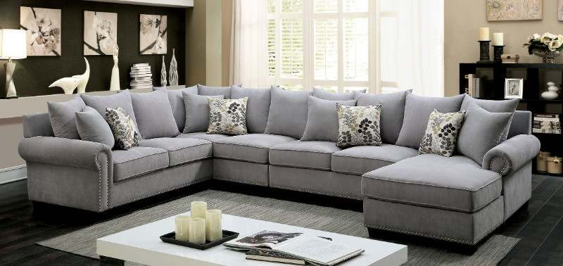 CM6156GY 3 pc skyler gray fabric sectional sofa with nail head trim accents