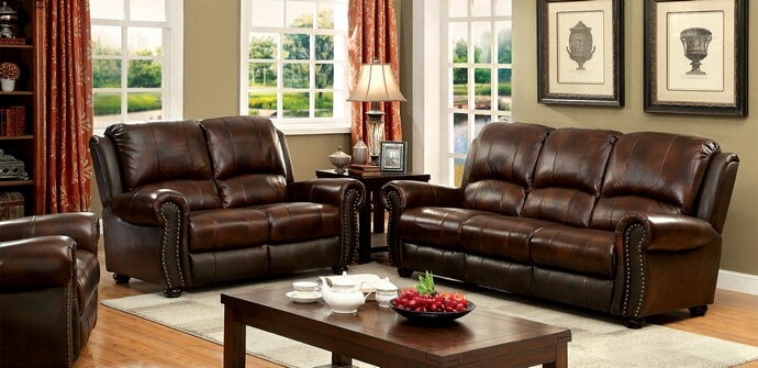 CM6191 2 pc turton brown top grain leather match sofa and love seat set