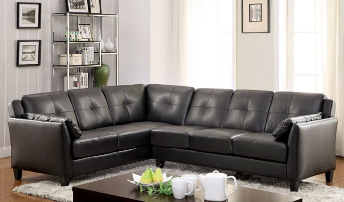 2 pc peever collection contemporary style black leatherette sectional sofa with tufted back and padded arms