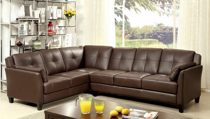 2 pc peever collection contemporary style brown leatherette sectional sofa with tufted back and padded arms