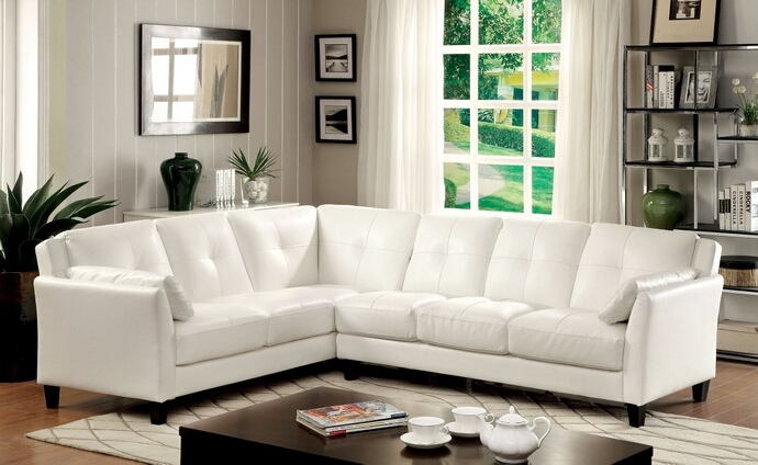 2 pc peever collection contemporary style white leatherette sectional sofa with tufted back and padded arms