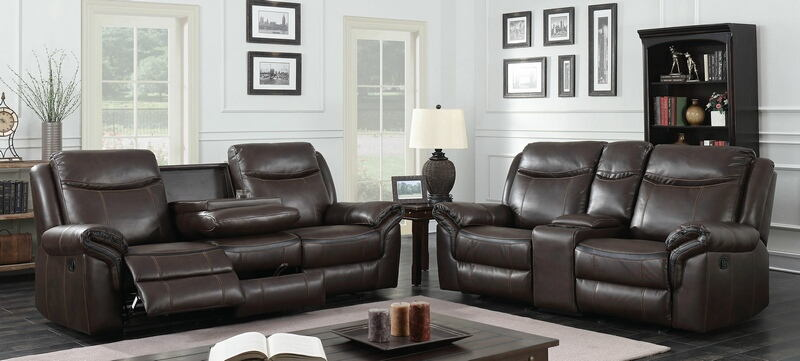 CM6297 2 pc Chenai brown breathable leatherette sofa and love seat with recliner ends