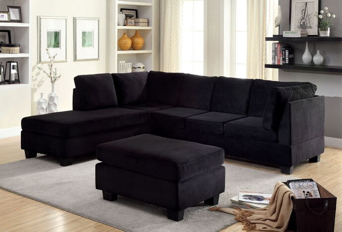 Furniture Of America Cm6316 2 Pc Lomma Black Flannelette Fabric Sectional Sofa