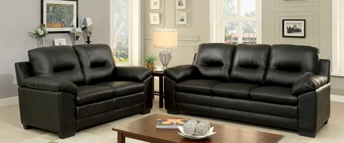 2 pc parma collection contemporary style black padded leatherette sofa and love seat with overstuffed arms