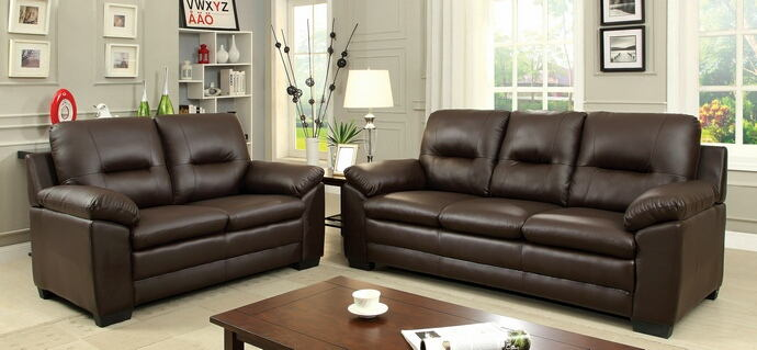 2 pc parma collection contemporary style brown padded leatherette sofa and love seat with overstuffed arms