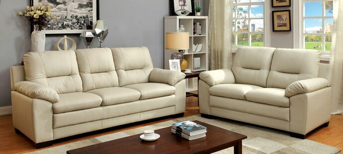 2 pc parma collection contemporary style ivory padded leatherette sofa and love seat with overstuffed arms
