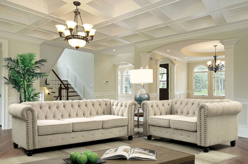CM6342IV 2 pc Winifred ivory chenile fabric sofa and love seat set with tufted backs