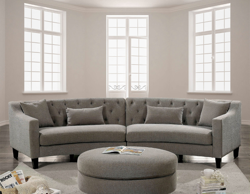 CM6370 2 pc Copper Grove Brezovo sarin aretha warm gray linen like fabric curved back sectional sofa