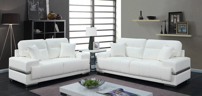 CM6411WH 2 pc zibak white breathable leatherette modern style sofa and love seat