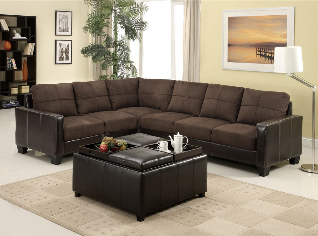 Lavena ii cappuccino elephant skin microfiber and espresso upholstery contemporary style sectional corner sofa set