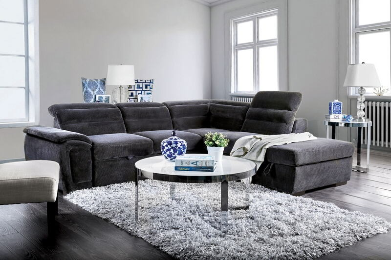 CM6521GY 3 pc Felicity dark gray chenille fabric sectional sofa set with pull out sleep area