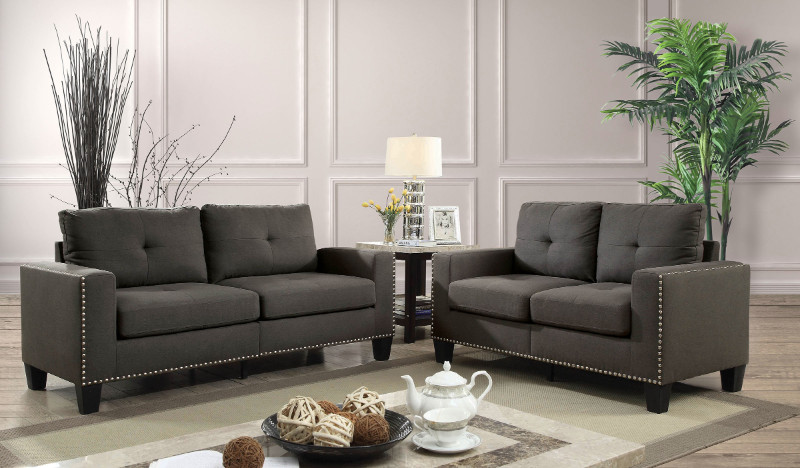 CM6594 2 pc Attwell gray linen like fabric sofa and love seat set with squared arms
