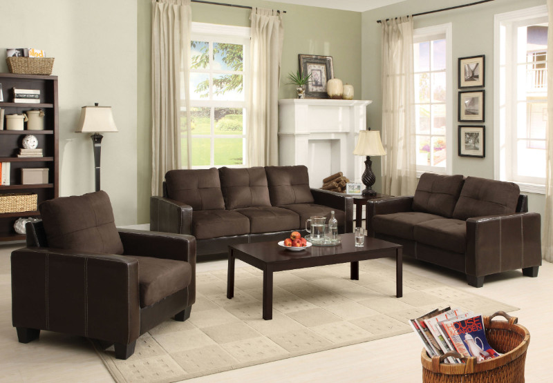 CM6598DK 3 PC laverne II chocolate elephant skin microfiber and vinyl sofa , loveseat and chair set