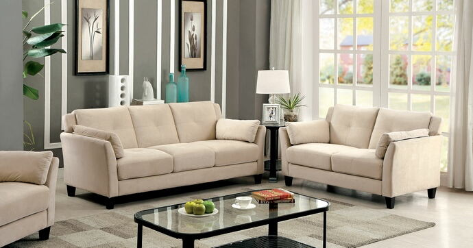 2 pc ysabel collection contemporary style beige flannelette sofa and love seat set with tufted back and padded arms