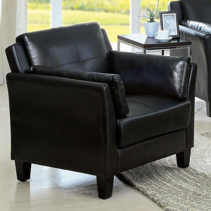 CM6717BK-CH Pierre black leatherette accent chair