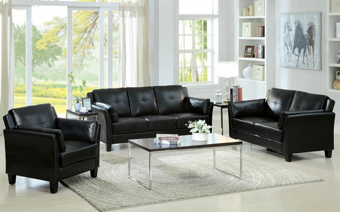 CM6717BK 2 pc pierre black leatherette sofa and love seat set