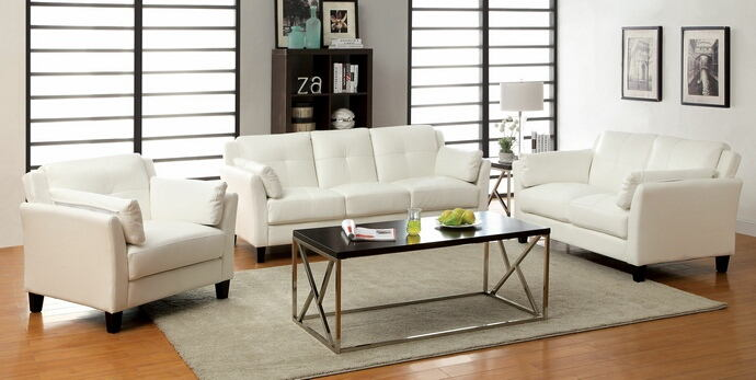 CM6717WH 2 pc pierre white leatherette sofa and love seat set