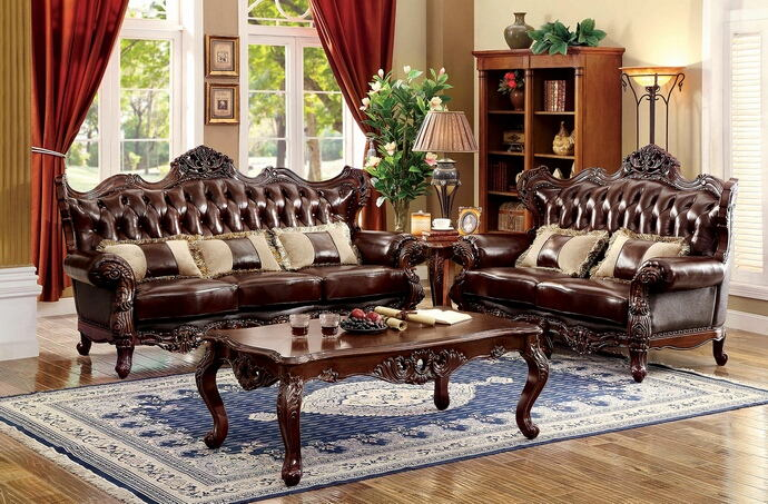 CM6786 2 pc jericho brown top grain leather match sofa and love seat set with wood trim