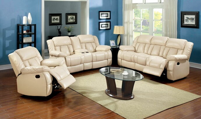 2 pc barbado collection ivory bonded leather match upholstered sofa with recliner ends and love seat with center console and recliner ends