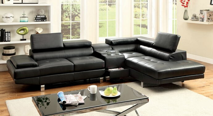 3 pc kemina collection modern style black bonded leather match upholstered sectional sofa with blue tooth speaker console with adjustable headrests and tufted seats