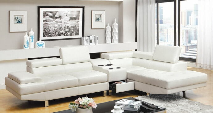 3 pc kemina collection modern style white bonded leather match upholstered sectional sofa with blue tooth speaker console with adjustable headrests and tufted seats