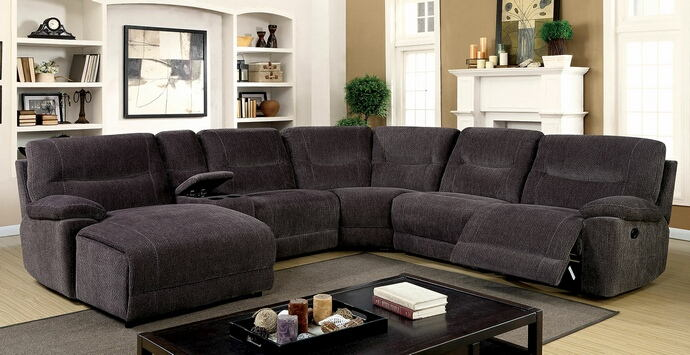 CM6853 6 pc Zuben gray chenille fabric sectional sofa with recliner and chaise