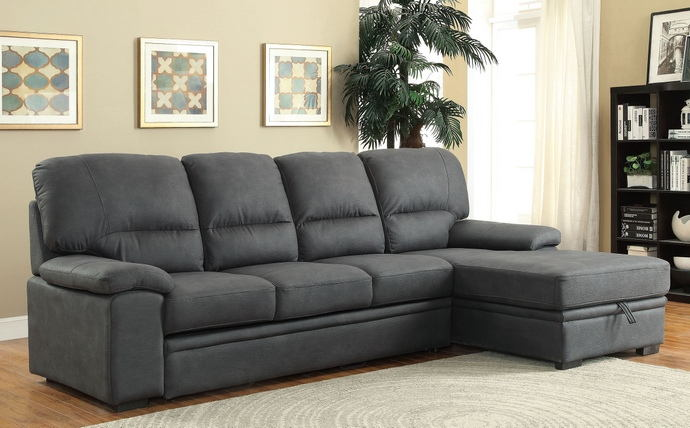 2 pc alcester collection graphite premium fabric upholstered contemporary style sectional sofa set
