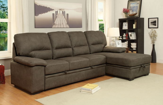 2 pc alcester collection ash brown premium fabric upholstered contemporary style sectional sofa set
