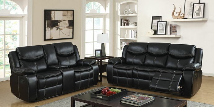CM6981 2 pc gatria black breathable leatherette sofa and love seat with recliner ends