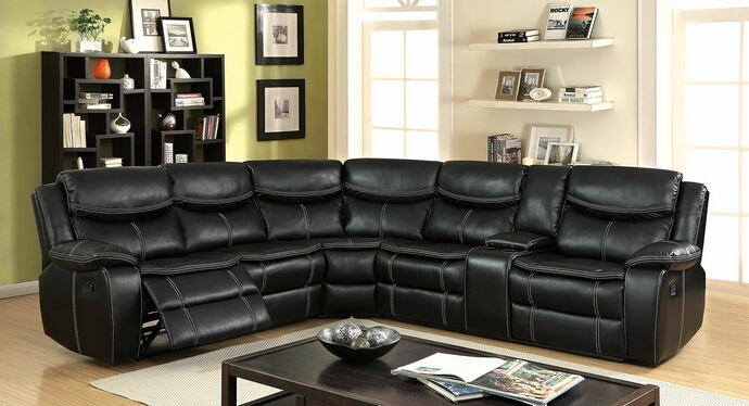 3 pc gatria ii collection black breathable leatherette standard motion sectional sofa with recliner ends