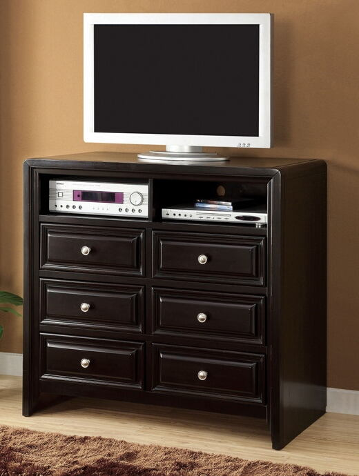 Winsor collection contemporary style espresso finish wood tv console media chest