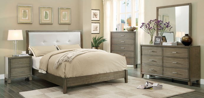 5 pc enrico i gray finish wood with fabric padded headboard queen bedroom set