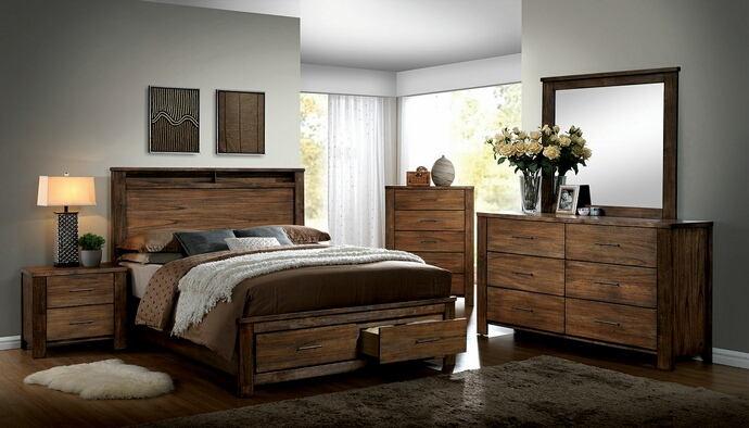 CM7072 4 pc Loon peak upson Elkton antique oak finish wood queen panel bedroom set