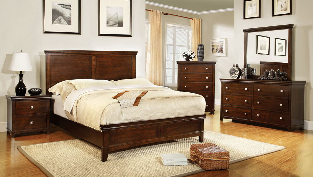 CM7113CH 5 pc spruce transitional style brown cherry finish wood queen platform bedroom set with panel headboard and footboard