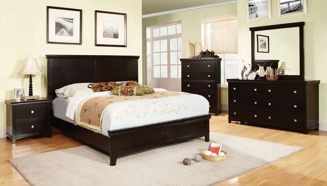 CM7113EX 5 pc spruce transitional style espresso finish wood queen platform bedroom set with panel headboard and footboard